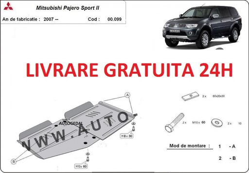 Scut metalic otel 2mm pentru cutia de viteze Mitsubishi Pajero V80 / V90 Sport II 2007-prezent COD:00.099