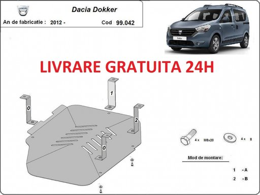 Scut metalic otel 2mm rezervor Dacia Dokker 2012-prezent COD: 99.042