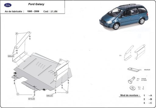 Scut motor metalic Ford Galaxy 1995 - 2006