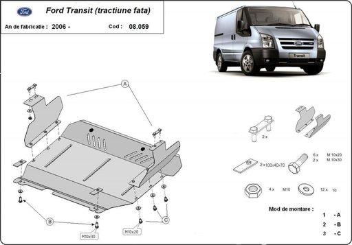 Scut motor metalic Ford Transit dupa 2006 (tractiune fata)