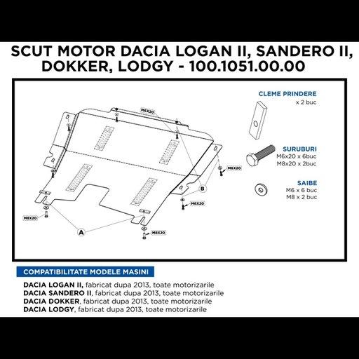 Scut motor metalic Logan II/ Sandero II/ Dokker/ L