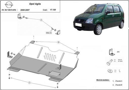 Scut motor metalic Opel Agila, Motorizare 2000-2008