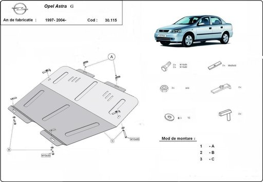 Scut motor metalic Opel Astra G; Astra H; Zafira A, Zafira B
