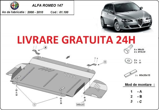 Scut motor metalic otel 2mm Alfa Romeo 147 2000-2010 COD: 01.100
