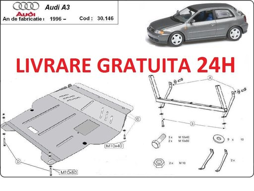 Scut motor metalic otel 2mm Audi A3 1996-2003 COD: 30.146