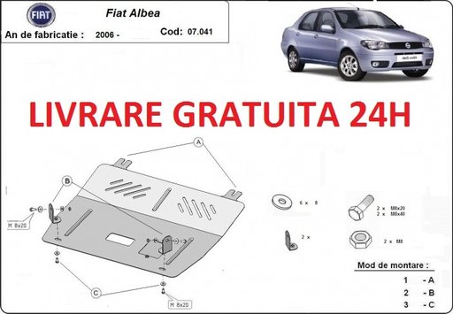 Scut motor metalic otel 2mm Fiat Albea 2006-prezent COD: 07.041