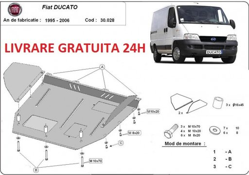 Scut motor metalic otel 2mm Fiat Ducato 1995-2006 COD: 30.028