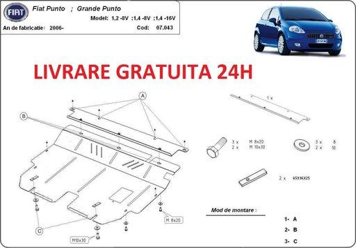 Scut motor metalic otel 2mm Fiat Grande Punto 2006 - prezent COD: 07.043