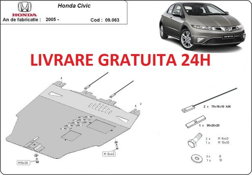 Scut motor metalic otel 2mm Honda Civic Hatchback 2005-prezent COD:09.063