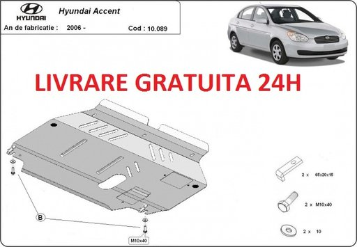Scut motor metalic otel 2mm Hyundai Accent 2006-prezent COD:10.089