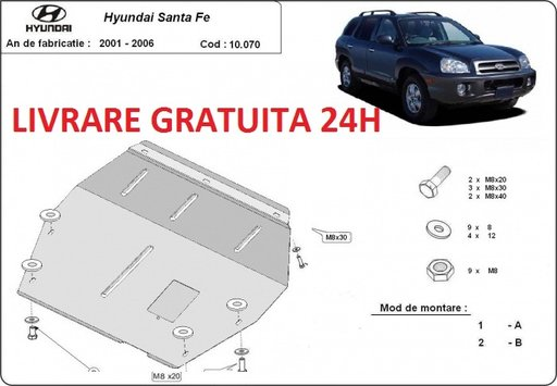 Scut motor metalic otel 2mm Hyundai Santa Fe I 2001-2006 COD:10.070