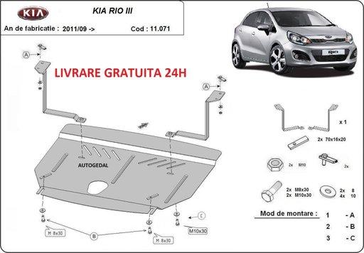 Scut motor metalic otel 2mm Kia Rio 2011-prezent COD:11.071