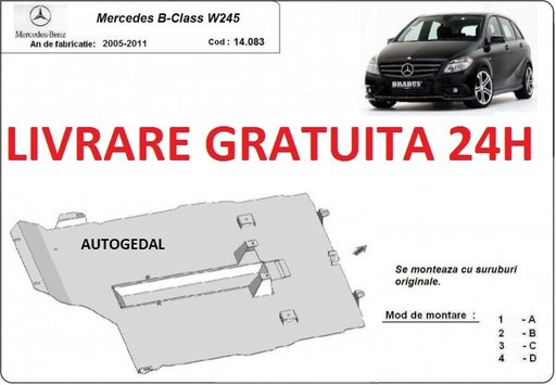 Scut motor metalic otel 2mm Mercedes B-classe W245 2005-2011 COD:14.083