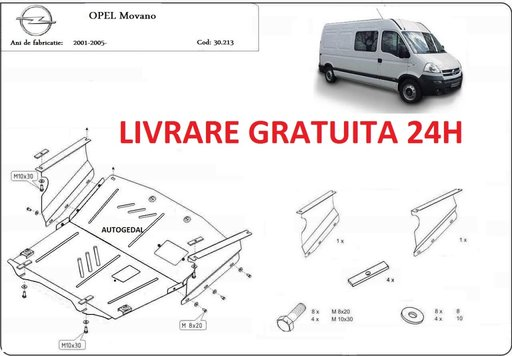 Scut motor metalic otel 2mm Opel Movano 1998 - 2010 COD:30.213