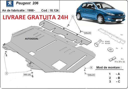 Scut motor metalic otel 2mm Peugeot 206 1998-PREZENT COD:18.124