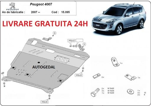 Scut motor metalic otel 2mm Peugeot 4007 2007-2014 COD:15.095