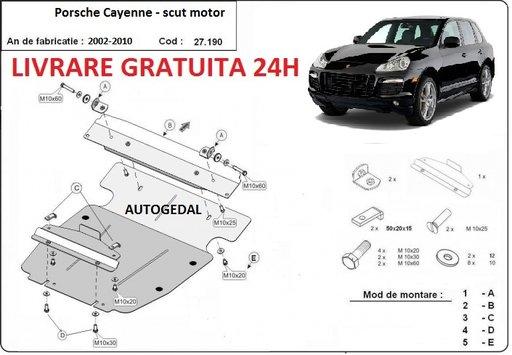 Scut motor metalic otel 2mm Porsche Cayenne 2002-2010 COD:27.190