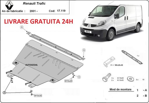 Scut motor metalic otel 2mm Renault Trafic 2003-2014 COD:17.119