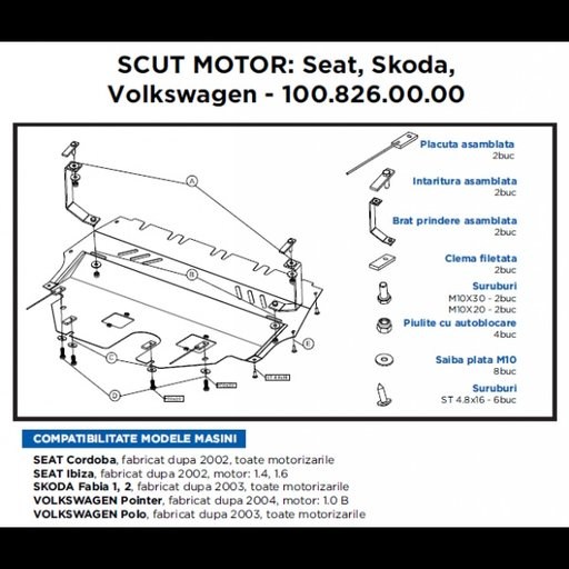 Scut motor metalic Seat, Skoda, VW