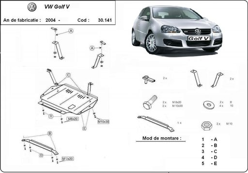 Scut motor metalic VW Golf 5