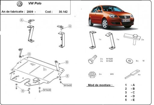 Scut motor metalic VW Polo 9N 2003 -