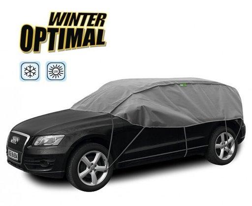 Semi Prelata auto, husa exterioara Tata Safari, pentru protectie impotriva inghetului si soarelui, marime SUV, lungime 300-330cm, model Winter Optimal