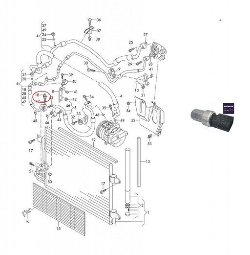 Senzor presiune aer conditionat pentru Audi, Seat ,VW , Skoda 1995-2014 1K0959126 1K0959126A 1K0959126B (D,E)