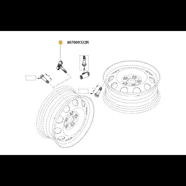 Senzor presiune roata si valva Dacia Duster 04/2010-2018 – producator Renault 407009322R – Piesa Noua