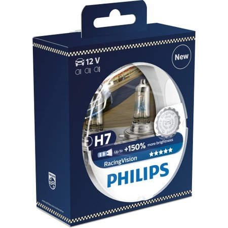 Set 2 Becuri auto far cu halogen Philips H7 RacingVision, 12 V, 55W, 2 buc