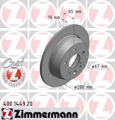 Set 2 discuri frana spate zimmermann R280 pt mercedes vito(638)
