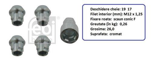 Set 4 piulite antifurt cu cheie speciala pentru Nissan , Suzuki (in descriere)---FEBI / SWAG Germania