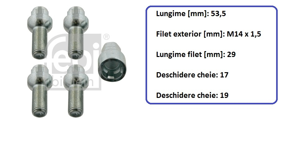 Set 4 prezoane antifurt cu cheie speciala pentru Audi,VW,Skoda,Mercedes---- FEBI-Germania