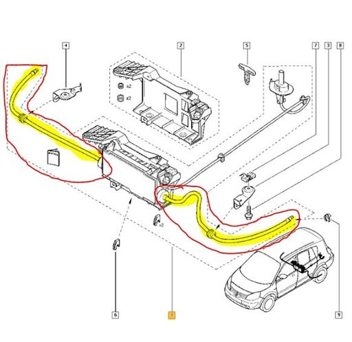 Set cablu frana de mana stg/dr Renault Grand Scenic II 2004-