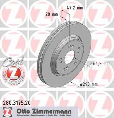 Set discuri frana fata Zimmermann Germania pt honda cr-v dupa an 2007-
