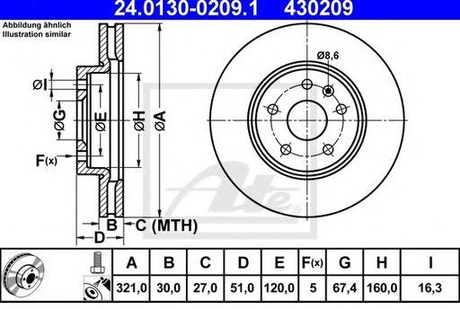 Set Discuri Frana Opel Insignia Roti 17' 321mm J61 ATE