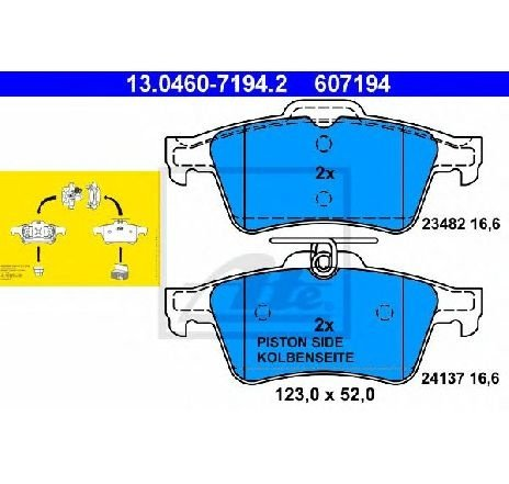 Set placute frana, frana disc SAAB 9-3 Cabriolet ( YS3D ) 02/1998 - 08/2003 - producator ATE 13.0460-7194.2 - 303548 - Piesa Noua