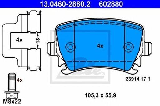 Set Placute Frana Spate pentru VW PASSAT 2005-2010