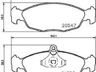 Set placute franafrana disc OPEL CORSA B ( 73, 78, 79 ) 03/1993 - 12/2002 - producator HELLA 8DB 355 007-531 - 300189 - Piesa Noua