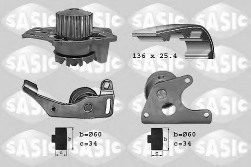 Set pompa apa + curea dintata CITROËN XANTIA (X1), ROVER 200 hatchback (XW), LADA NIVA (2121) - SASIC 3900001