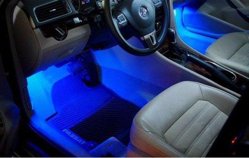 Sistem iluminare 4 module - 3 LED-uri fiecare, culoare albastra.