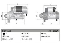Starter JAGUAR XF ( J05, CC9 ) 03/2008 - 04/2015 - producator DENSO DSN1300 - 306720 - Piesa Noua