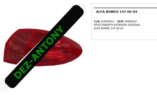 Stop dreapta exterior Alfa Romeo 147