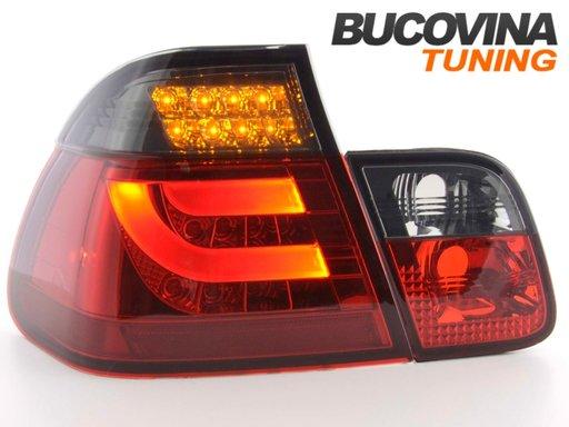 STOPURI FIBRA OPTICA BMW 3ER E46 98-01 LIMOUSINE – FUNDAL ROSU FUMURIU