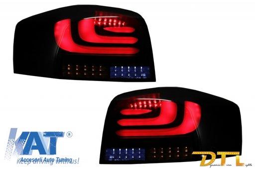 Stopuri Full LED carDNA compatibil cu AUDI A3 8P1 Hatchback (2003-2008) Negru/Fumuriu Semnal Dinamic Secventia