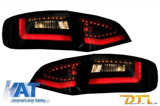 Stopuri LED Litec compatibil cu AUDI A4 Avant B8 (2008-2011) Negru/Fumuriu Semnal Dinamic Secvential