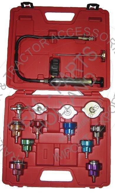 Tester presiune radiator racire motor, pompa cu manometru, termometru, adaptori radiator apa
