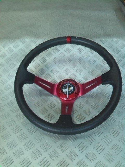 Volan sport racing rosu inchis model ingropat