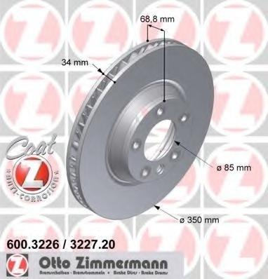 Zimermann disc frana stanga fata cu r350mm pt q7,touareg
