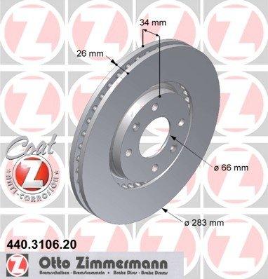 Zimmerman set 2 discuri frana fata r283mm pt peugeot