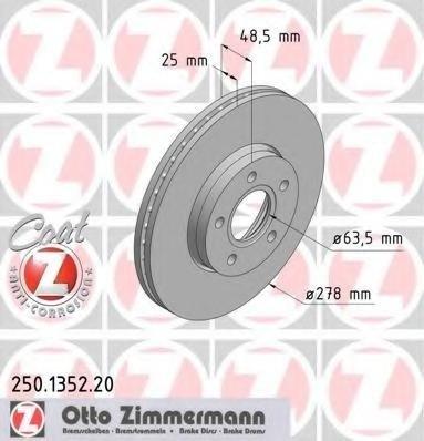 Zimmermann disc frana fata pt ford focus 2,c-max